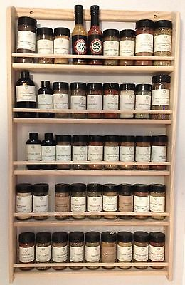 """Solid OAK 5-Shelf Wood Spice Rack / 32.75""""H x 19.75""""W / Wall Mount Wood Rack"""