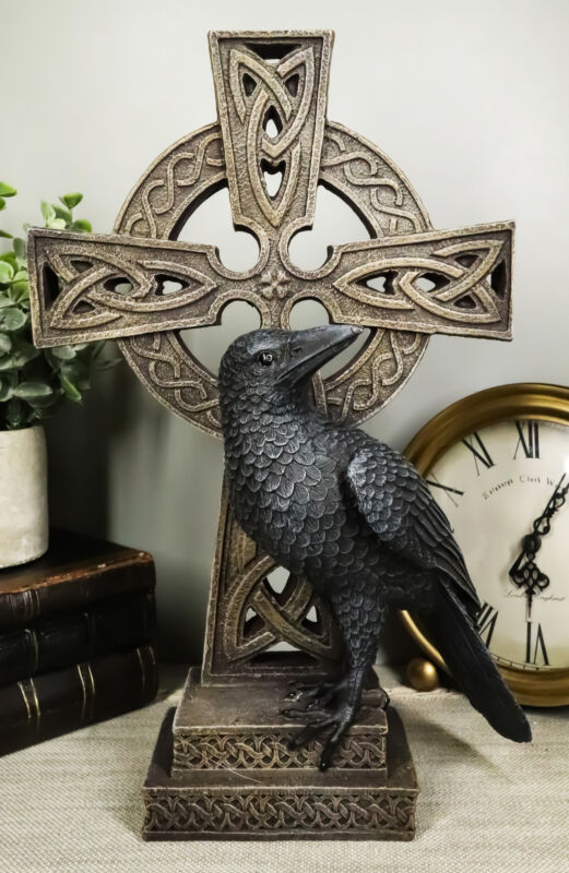 Gothic Raven Crow Perching On Celtic Cross Tomb Statue Harbinger Of Doom Decor