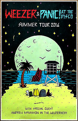 WEEZER | PANIC AT THE DISCO 2016 Summer Tour Ltd Ed New RARE Poster! White Album