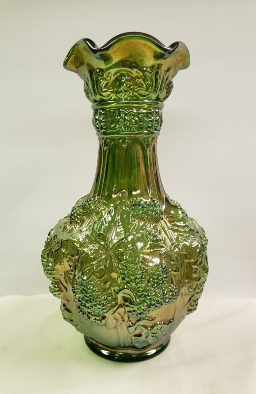 IMPERIAL Loganberry Old Carnival Glass VASE Decanter IRIDESCENT HELIOS GREEN