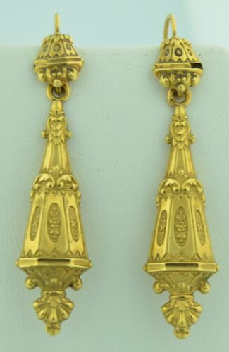 18K French Victorian Lengthy Day and Night Earrings