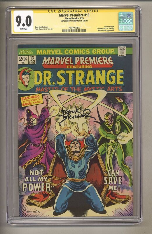 Marvel Premiere 13 (CGC Signature Series 9.0) White Pages; Frank Brunner! (j 196