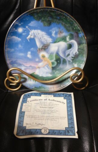 Bradford Exchange Journeys End Unicorn Plate in Enchanted Journey Series w/COA