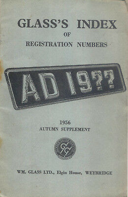 Glass's Index of Registration Numbers Supplement Autumn 1956