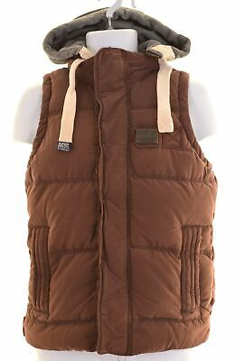 SUPERDRY Mens Padded Gilet Size 36 Small Burgundy Cotton  HP12