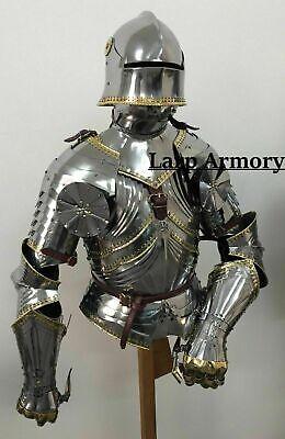 Medieval Wearable Half Suit of Breastplate Armour With Helmet Halloween Costume