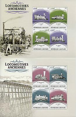 Gabon 2016 MNH Old Locomotives Steam Trains 4v M/S III & IV Railways Stamps