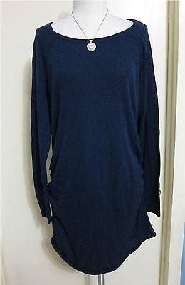 NWT Liz Lange Maternity Tunic Sweater Long Sleeve Navy Blue Size Large