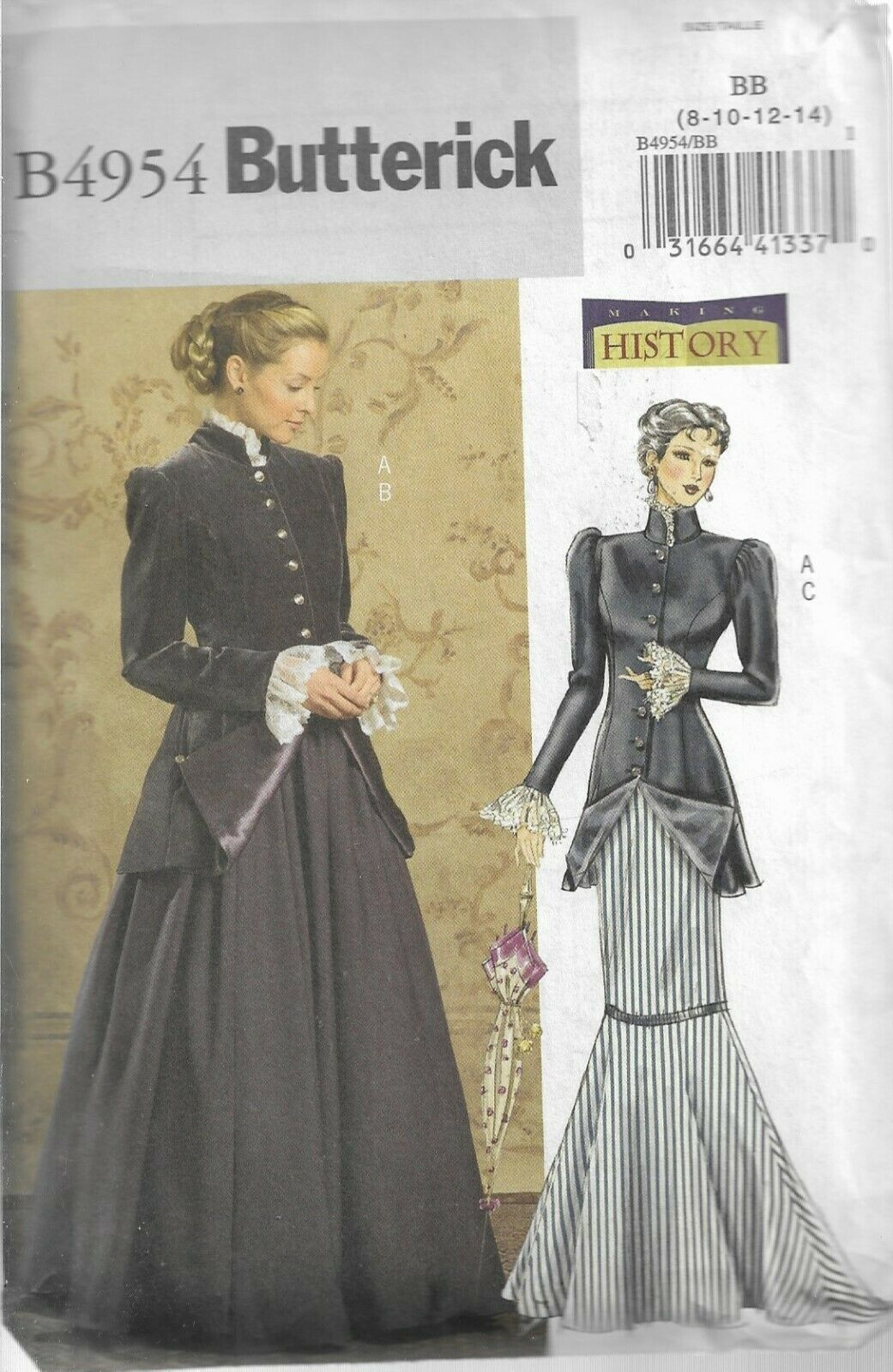 Butterick History Costume Pattern B4954-Misses Early 20th Century Costume 8-14 - $7.95