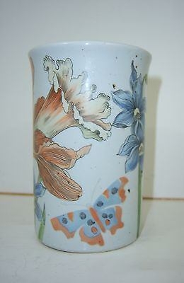 FITZ & FLOYD 1975-Floral IRIS Jonquil BUTTERFLY CUP VASE VANITY-Blue Orange Red