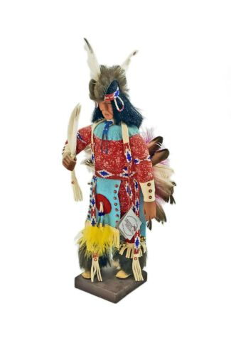 """Vintage 1991 Oglala SIOUX Indian 14"""" Wood Dancer Doll Zelda Fast Horse"""