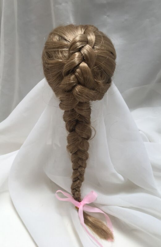 """8""""  Braid Curls Dark Blonde Doll Wig Reborn OOAK BJD Bisque Repair 286"""