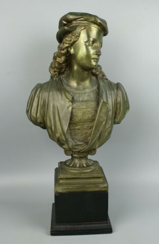 "Antique Duchoiselle Bronze Bust ""Young Raphael"" WorldWide"