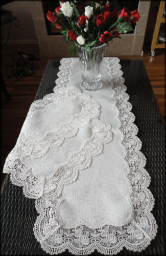 "54""  Dresser Scarf & Placemats Set Classic Rose Lace Antique White Table Runner"