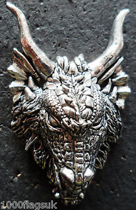 Dragon Head Chuncky Pewter Pin Badge - Hand Made in Cornwall