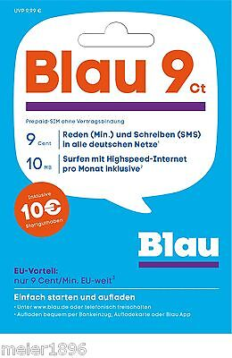 10 Euro Startguthaben Blau Prepaid Karte 9 Cent Tarif in alle Netze