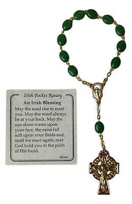 IRISH BLESSING Pocket Rosary, One Decade, Shamrock Beads, by HJ Sherman