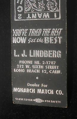 1950s L. J. Lindberg Dealer Monarch Match Co. 212 W. 6th Street Long Beach CA MB