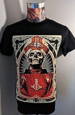 NEW GHOST SWEDISH ROCK BAND RED PAPA EMERITUS SKELETON BISHOP BLACK T SHIRT](Skeleton Shirts)
