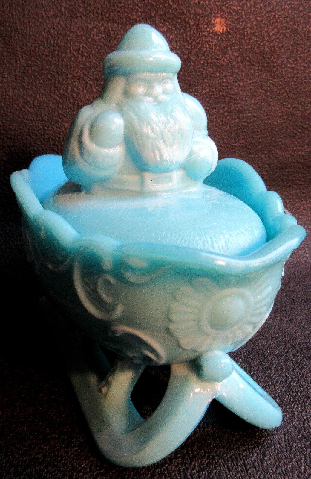 boite bonbonni re barbotine opaline bleue p re no l sur son traineau eur 125 00 picclick fr. Black Bedroom Furniture Sets. Home Design Ideas