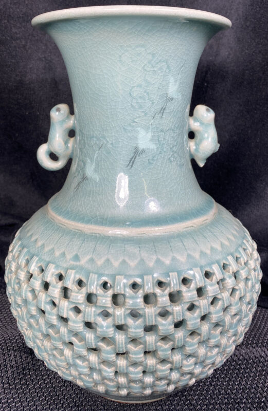 """Vintage Signed Korean Porcelain Celadon Glaze Vase 9 1/2"""""""
