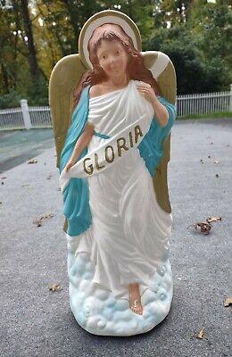 "Vtg Gloria Angel Blow Mold Christmas Nativity 34"" Lighted Lawn Yard Decor TPI"