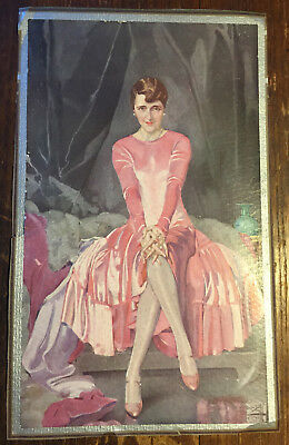 Antique 1920s French Fashion Print: Society Woman in Pink Dress - Signed
