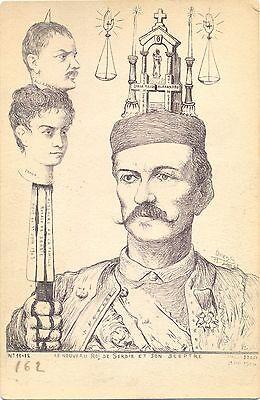 """Serbien, König von Serbien, Karte aus """"Burin Satirique"""", sign. Orens, RRR !"""