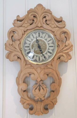 Norwegian wooden carved clock Rosemaling Handcarved