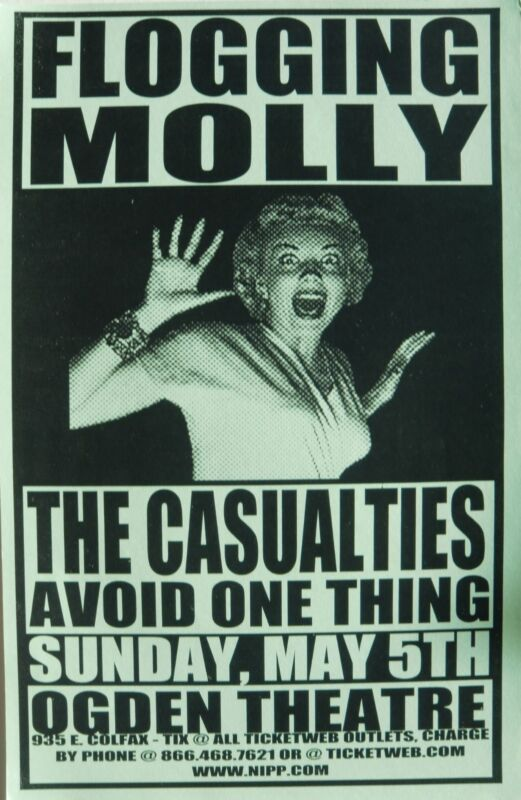 FLOGGING MOLLY / THE CASUALTIES 1997 DENVER CONCERT TOUR POSTER