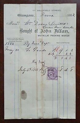 1882 John Allan, Metallic Packing Maker, 177 Bellfield Street, Glasgow Invoice