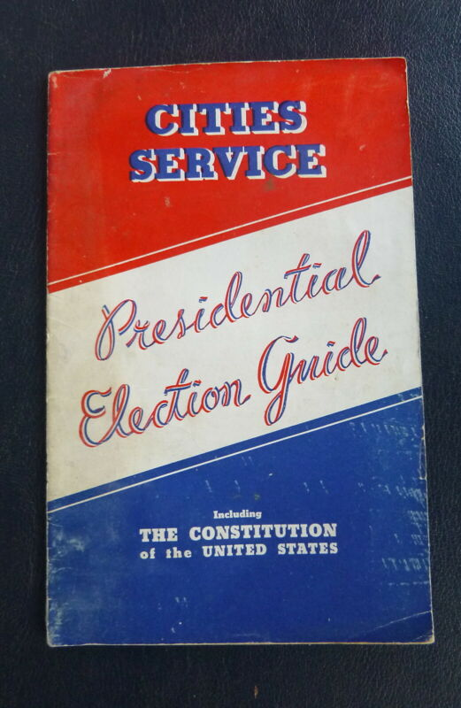 1936 Presidential Election Guide n/map Cities Service gas 32 pgs fact candidates