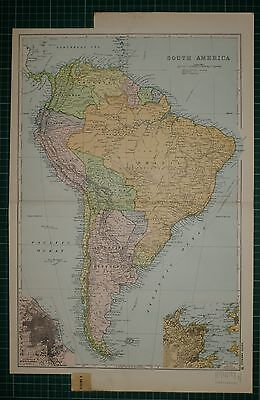 1905 ANTIQUE MAP ~ SOUTH AMERICA ARGENTINE REPUBLIC URUGUAY BOLIVIA PERU BRAZIL