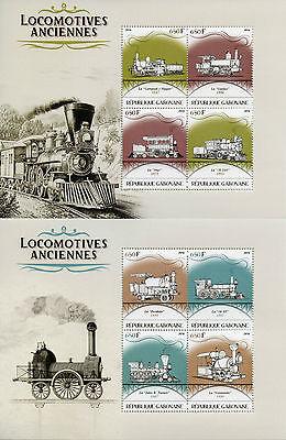 Gabon 2016 MNH Old Locomotives Steam Trains 4v M/S I & II Railways Stamps