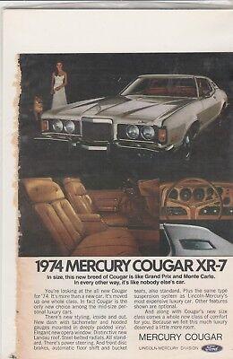 "Original 1974 Mercury Cougar XR-7 Magazine Ad ""...It's Like Nobody Else's Car"""