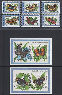 Lesotho Sc 961-968 MNH. 1993 Butterflies cplt incl both Souvenir Sheets