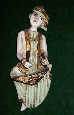 Antique-Vintage Burmese?Painted Wooden  Figurine of a Musician playing a Drum