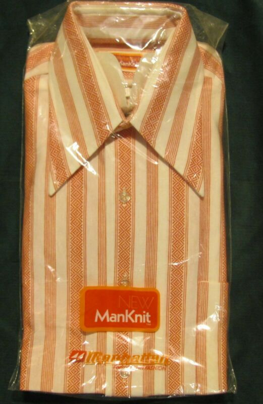 Vintage NOS Manhattan ManKnit Long Sleeve Shirt Red and White