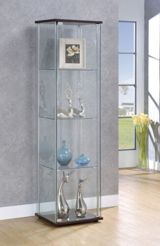 4-Shelf Glass Curio Rectangular Display Cabinet Tower Cappuccino / Clear 950172