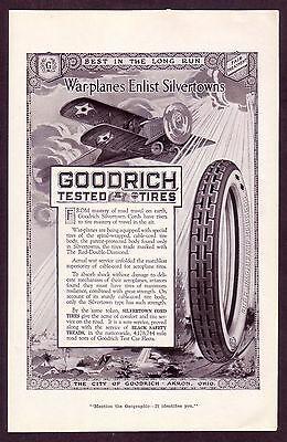 1910's Old Original VINTAGE Goodrich Tires Airplane War Plane art print AD