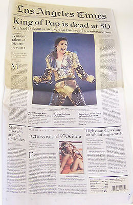 New 6 26 2009 Michael Jackson Farrah Fawcett Obituaries L A  Times Newspaper