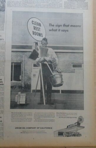 1958 newspaper ad for Union Oil Co. - Clean rest rooms, Minute Man service