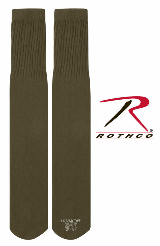 OD GREEN Military Tactical GI TYPE Tube Boot Socks - Pair U.S. MADE 6181  #1