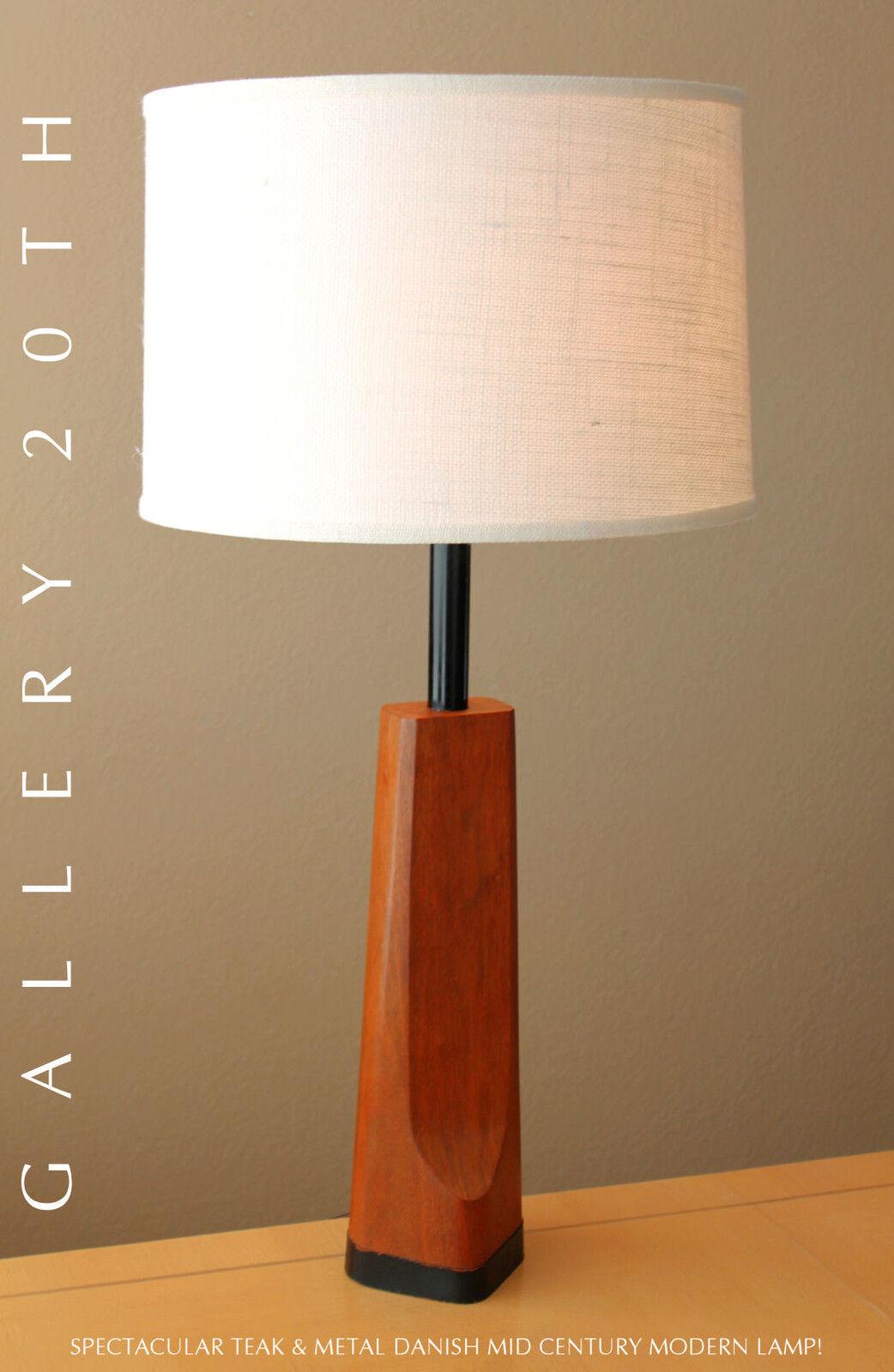 Rare Mid Century Danish Modern Teak Lamp Eames Retro