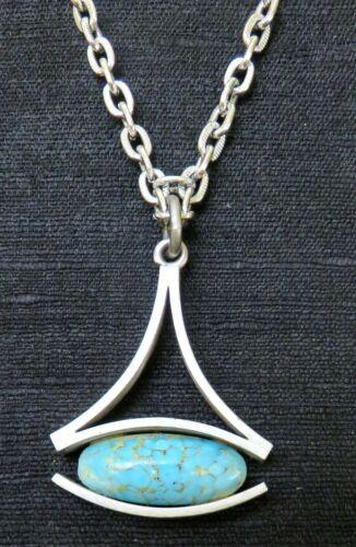 Mid Century Modern Signed Logeskov Tin Denmark Pewter Necklace Pendant