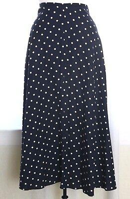 Vtg 70s 80s Navy Blue White Polka Dot Full A-Line Midi Skirt Boho Lucy Festival