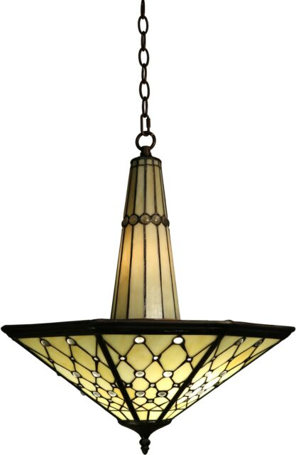dining room light fixture tiffany style stained glass ceiling chandelier mission - Dining Room Light Fixture Glass