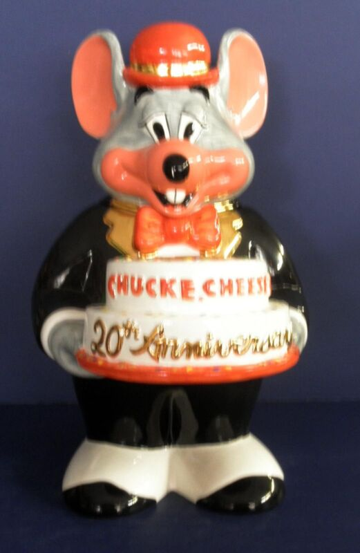 Chuck E. Cheese 20th Anniversary Cookie Jar: L.E. of 1997  & Go With Shakers
