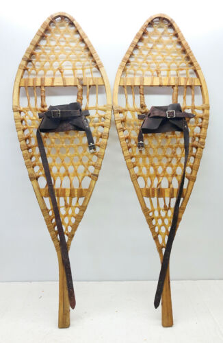 """Antique Vintage 14"""" X 42"""" Snowshoes Usable or Decor - Free Shipping"""