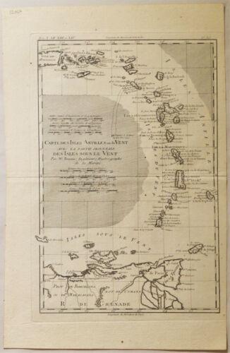 1782 Genuine Antique map Lesser Antilles, West Indies. by R. Bonne